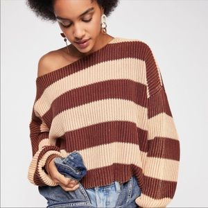 NEW Free People Just My Stripe Pullover Sweater XS